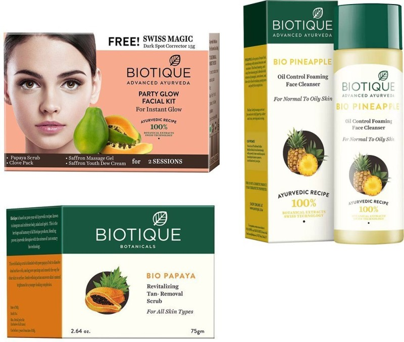 BIOTIQUE BIO Bio Party Glow Facial Kit, Bio Papaya Revitalizing Tan Removal Scrub, Bio Pineapple Oil Control Face Cleanser For Normal To Oil Skin(Set of 3)