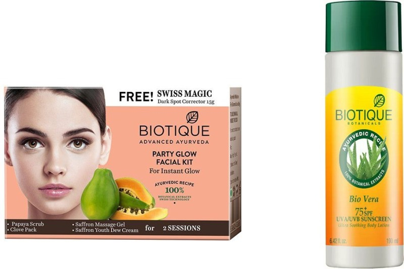 BIOTIQUE BIO Bio Party Glow Facial Kit, Bio Vera 75+ Spf Sunscreen Ultra Soothing Body Lotion(Set of 2)