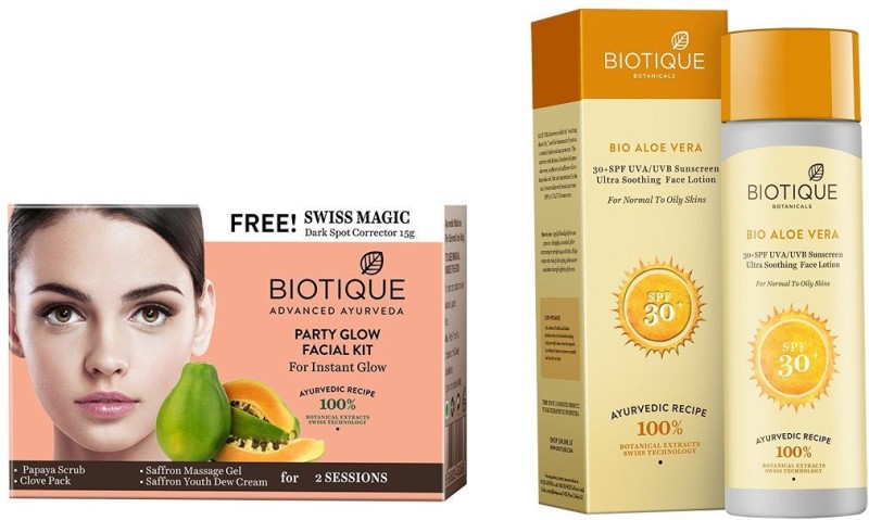BIOTIQUE BIO Bio Party Gelow Facial Kit, Bio Carrot 30+Spc Sunscreen Ultra Soothing Face Lotion(Set of 2)