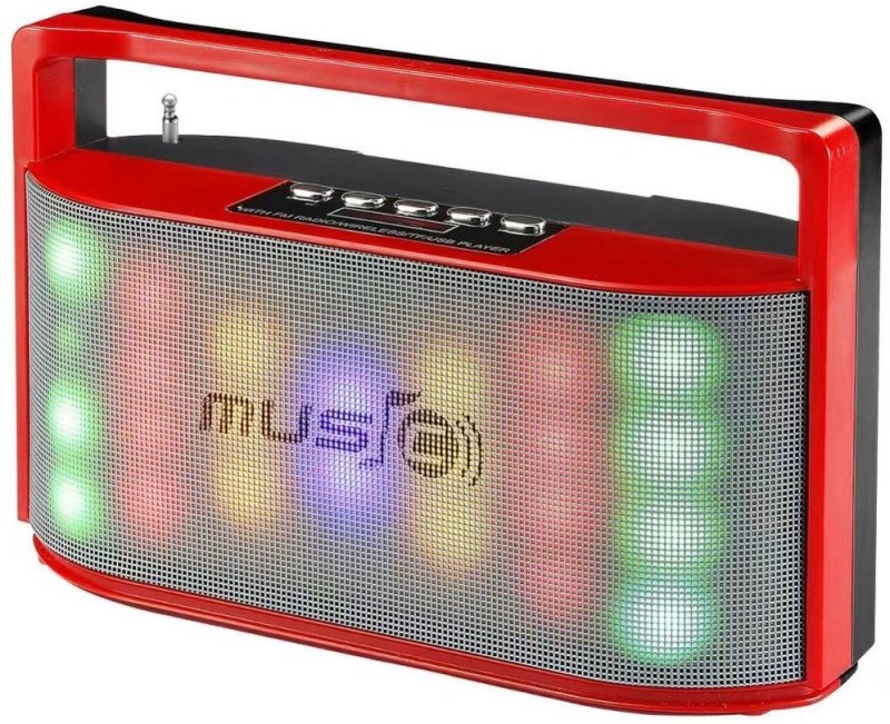 CRETO Latest model super high bass super high sound multicolor led light on front fm radio support bluetooth, aux, pendrive, memory card., headphone out, wireless autodyne , Phone call FM Radio(Red)