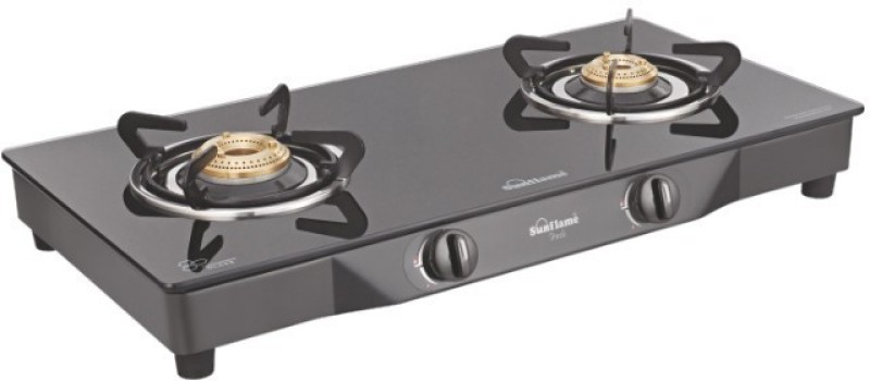 Sun Flame Pearl Glass Manual Gas Stove(2 Burners)