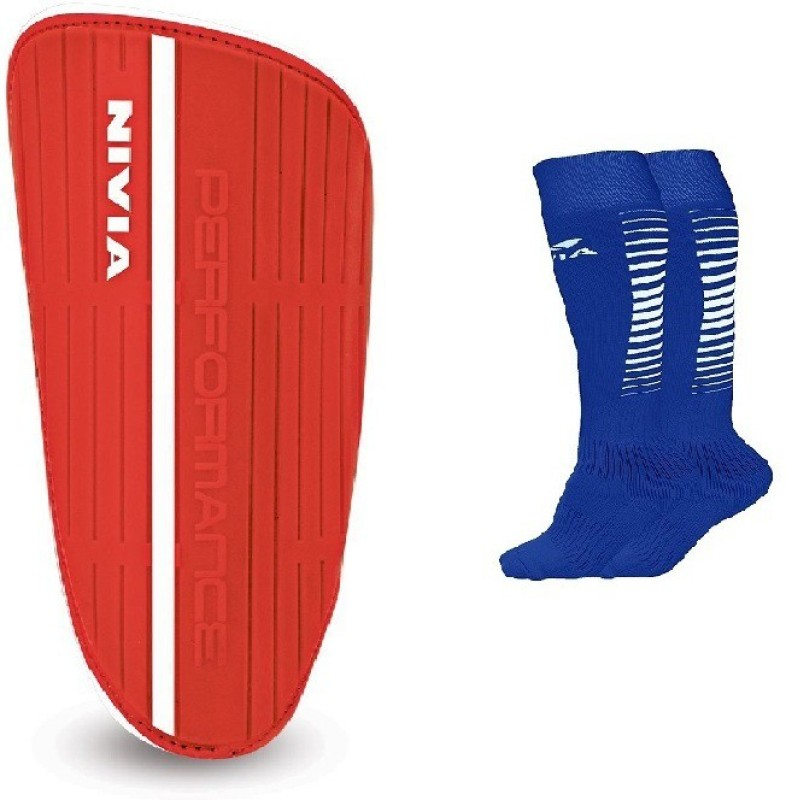Nivia Combo of two- One Pair of Performance shin guard (Large) and One Pair of Encounter Socks Shin Guard(L, Multicolor)