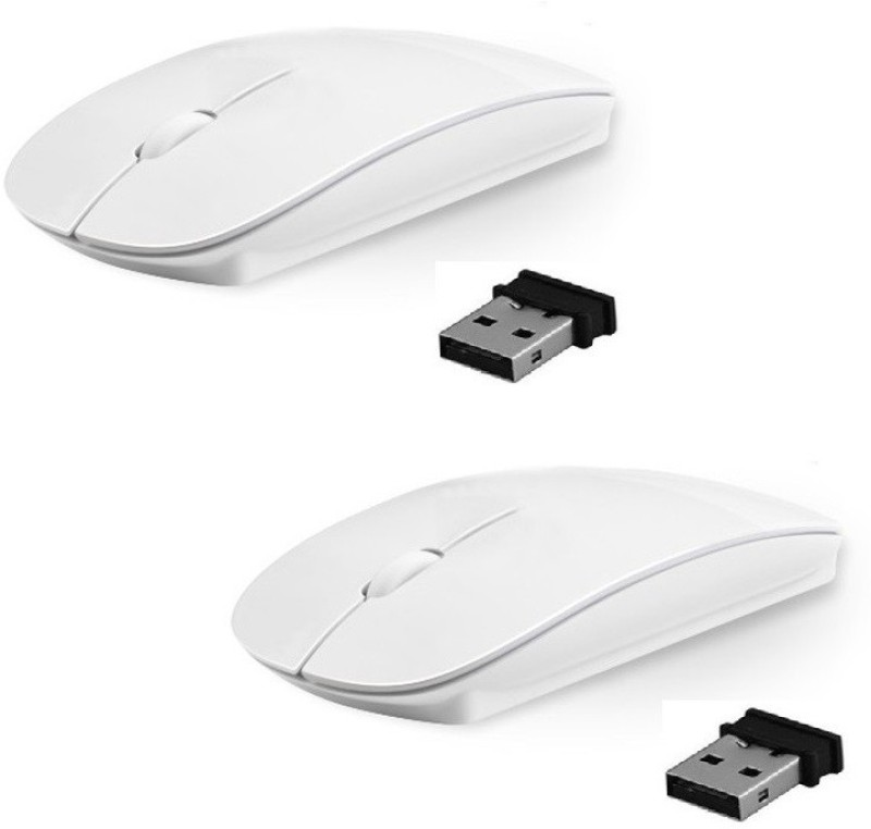 ReTrack SET OF 2PC Premium series Ultra Slim Wireless Optical Mouse(USB 3.0, USB 2.0, White)