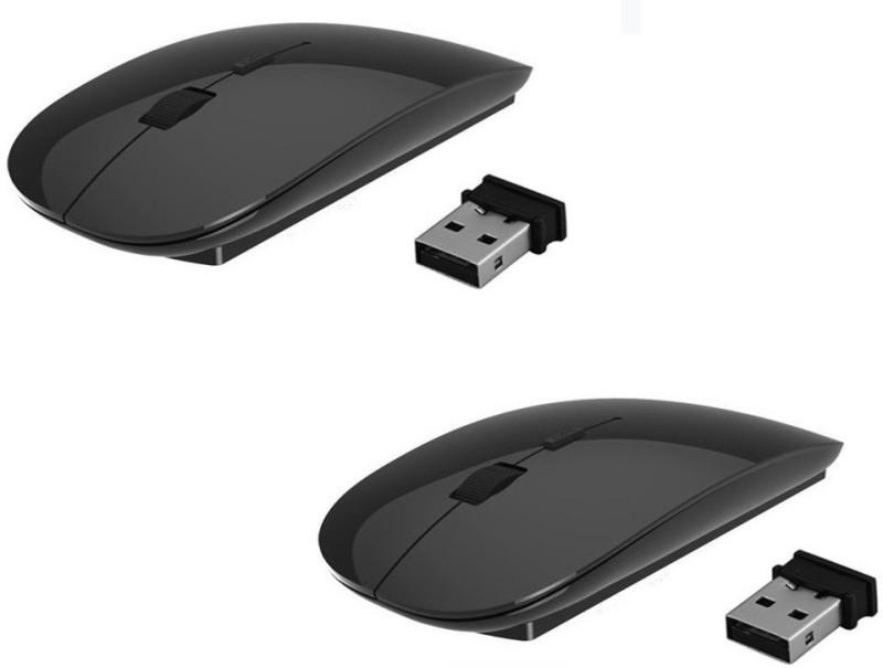 ReTrack SET OF 2PC Premium series Ultra Slim Wireless Optical Mouse(USB 3.0, USB 2.0, Black)