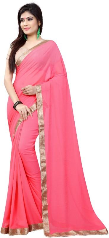 Avsar Prints Plain, Self Design, Solid Bollywood Pure Chiffon Saree(Pink)