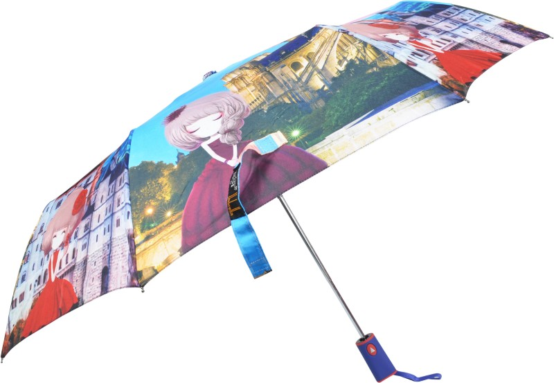 Murano 3 Fold Auto Open Doll Print Design 400156_3 Printed Umbrella Umbrella(Multicolor)