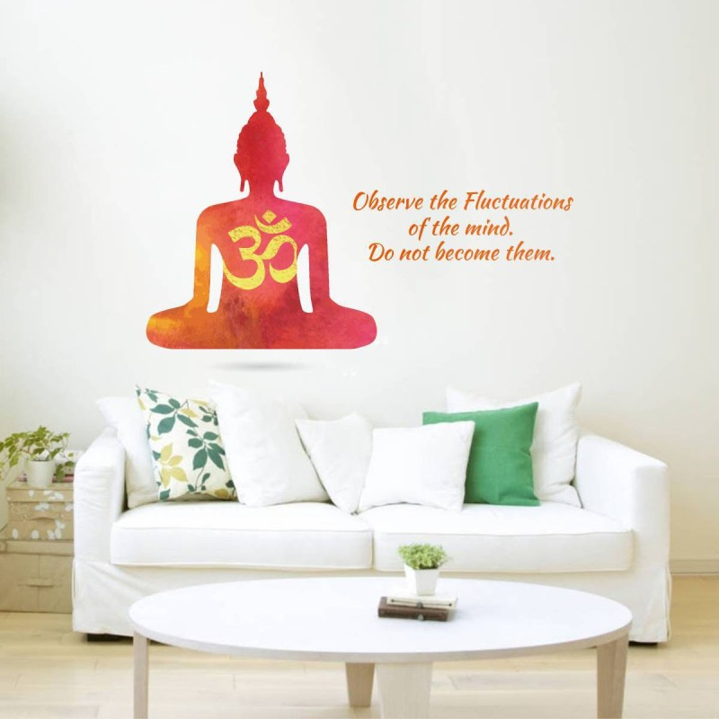 Rawpockets Decals ' Buddha Mind Motivation Quote' Large Size Wall Sticker ( Wall Coverage Area - Height 90 cms X Width 120 cms )(Pack of 1)(Multicolor)