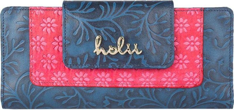 Holii Women Blue Genuine Leather Wallet(4 Card Slots)