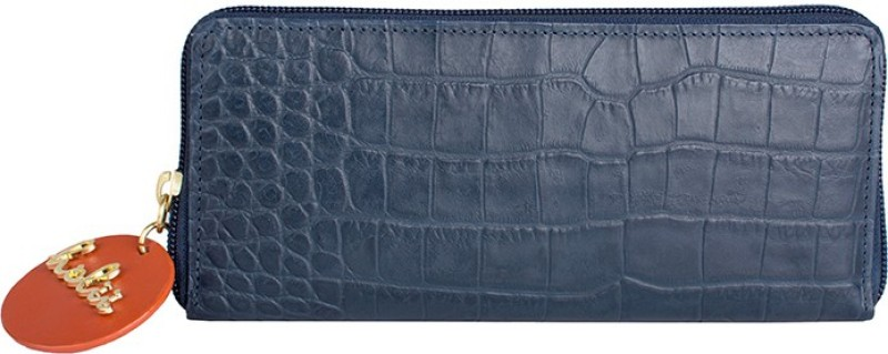Holii Women Blue Genuine Leather Wallet(8 Card Slots)