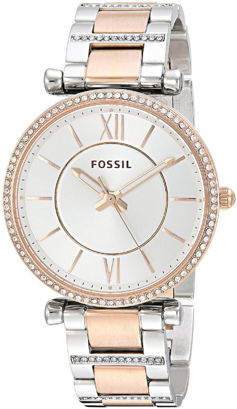 Fossil ES4342 Carlie Three-Hand Two-Tone Stainless Steel Watch Analog Watch - For Women
