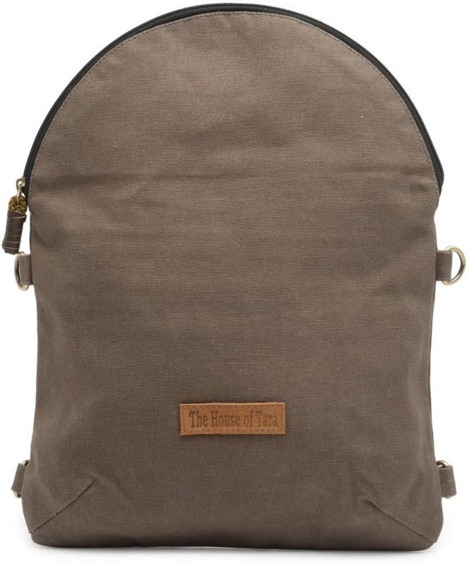 The House of Tara Coated Canvas Crossbody Bag 4 L Backpack(Grey)