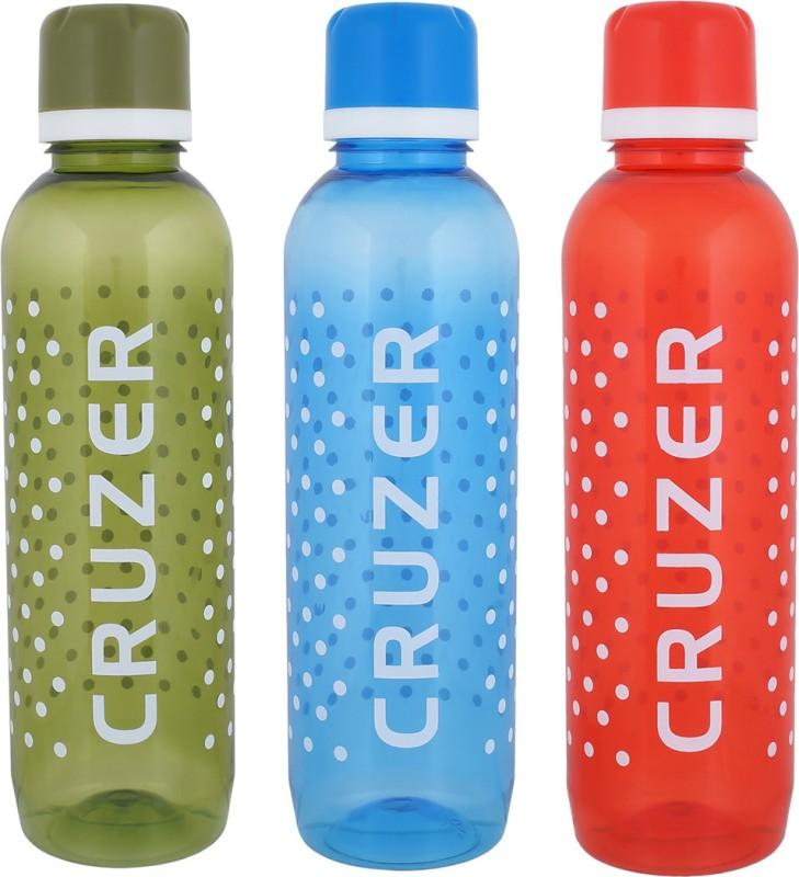 Aarushi Cruzer Unbreakable Plastic Water Bottle 1000 ml Bottle(Pack of 3, Multicolor)