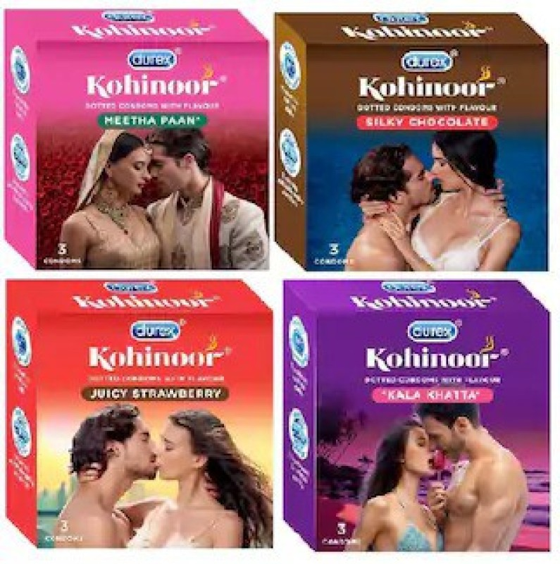Durex Kohinoor PassionRaja.com Collection Combo 3S - (Meetha Pan+Silky Chocolate+Juicy Strawberry+Kala Khatta) (3s x 4 Packs = 12 Condoms) Condom(Set of 4, 3S)
