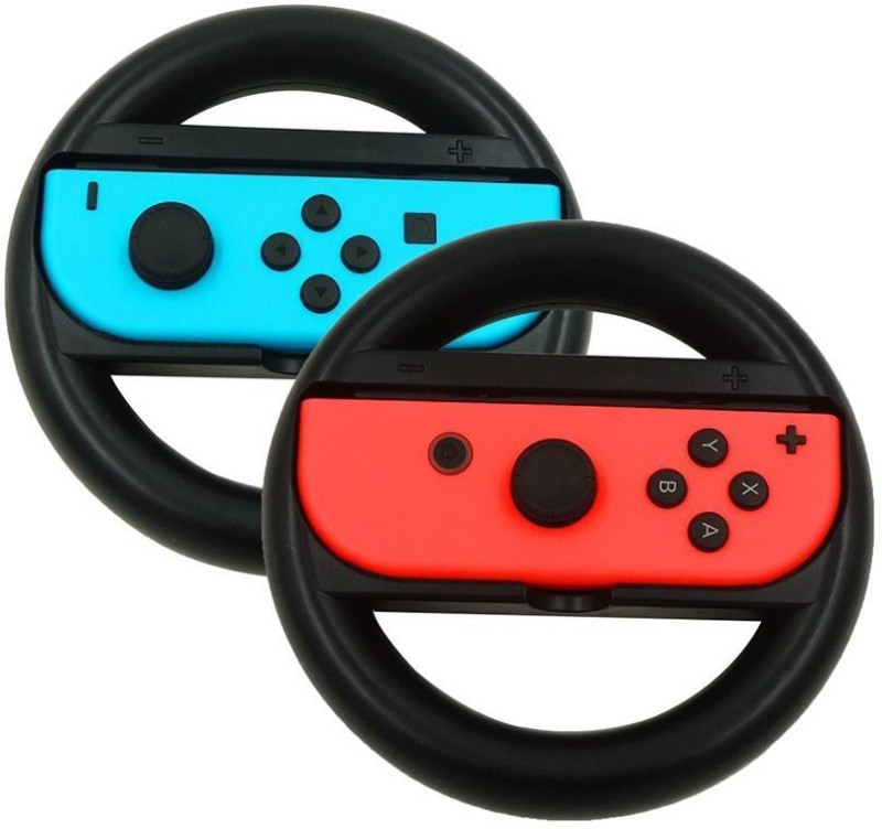 Microware Steering Wheel handle grips for Nintendo Switch Game, Racing Wheel Joy-con grips Set by Lammcou for Nintendo Switch Controller (2 Pack, Black) Gaming Accessory Kit(Black, For PC)