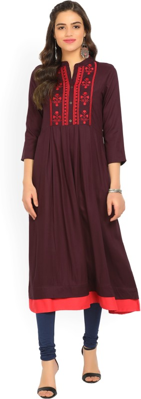 Vishudh Women's Embroidered Straight Kurta(Maroon)