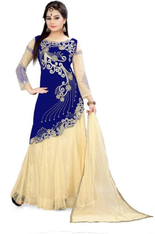 TexStile Embroidered Semi Stitched Lehenga Choli(Blue)