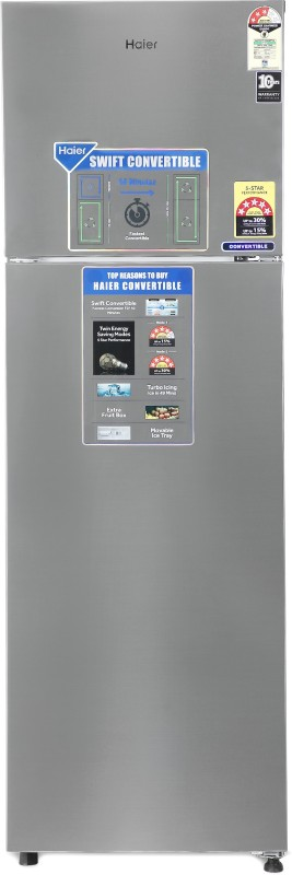Haier 278 l Frost Free Double Door 3 Star Convertible Refrigerator(Shiny Steel, HEF-27TSS)