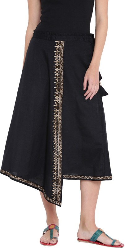 9rasa Geometric Print Women A-line Black Skirt