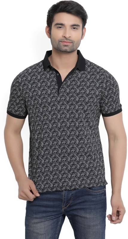 Blackberrys Printed Mens Polo Neck Black T-Shirt