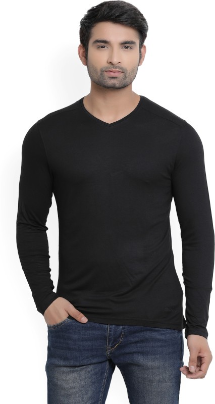 Blackberrys Solid Mens V-neck Black T-Shirt