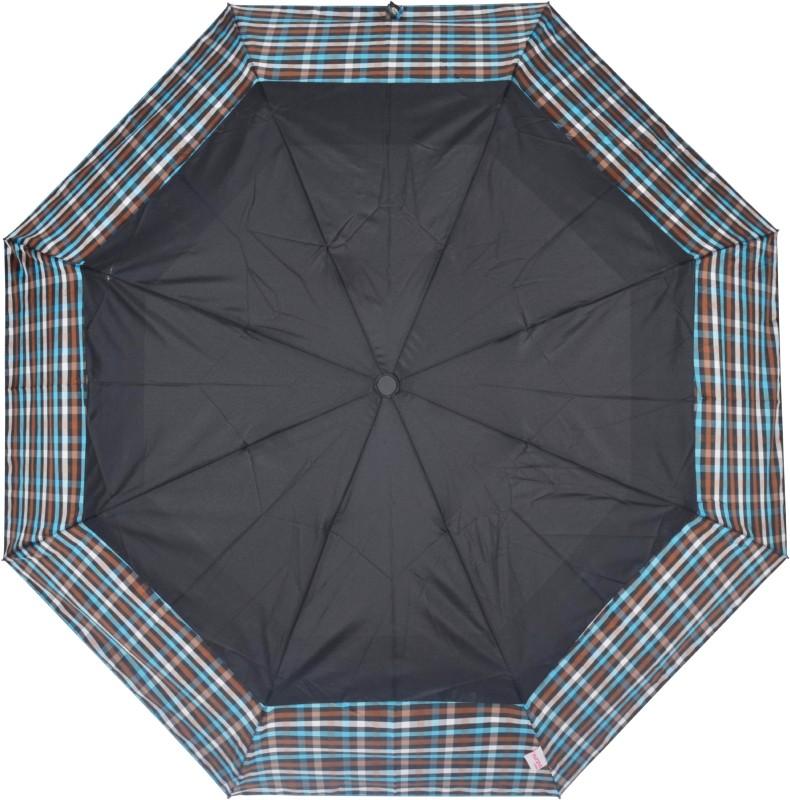 Murano 3 Fold Beautiful Fabric Desinger Umbrella(Black)