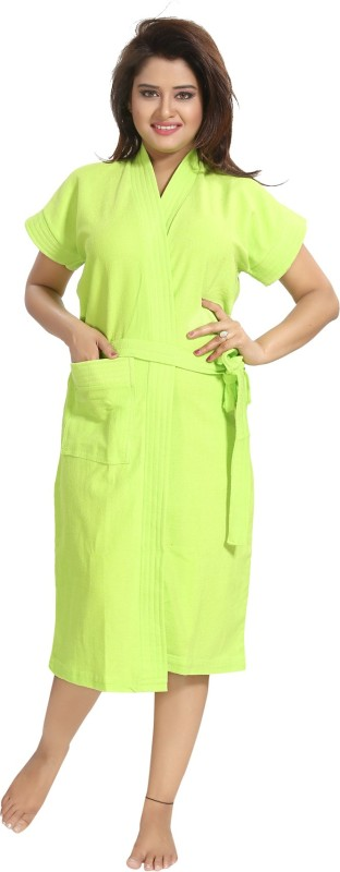 Be You Green Free Size Bath Robe(1 Bathrobe with Belt, For: Women, Green)