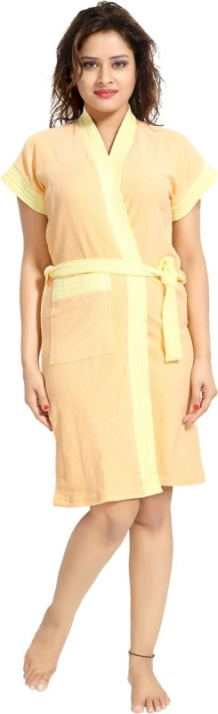 Be You Cream Free Size Bath Robe(1 Bathrobe with Belt, For: Women, Cream)