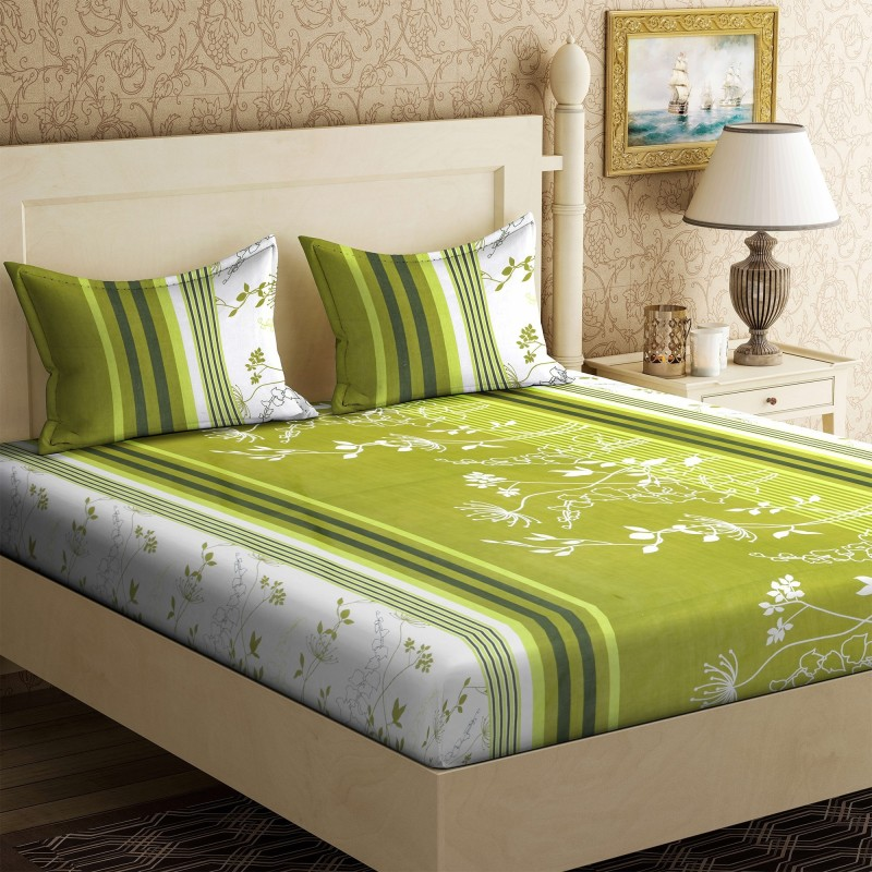 IWS 104 TC Cotton Double Printed Bedsheet(1 Bedsheet, 2 Pillow Covers, Multicolor)