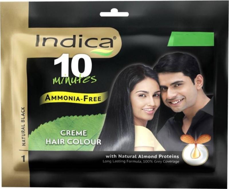Indica 10 Minutes Creme Hair Color(Natural Black 1)