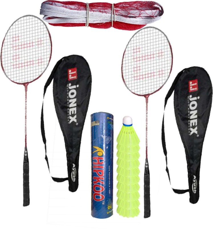 Jonex New Ayush Badminton Complete Set (2 Racket, Pack Of 10 Shuttlecocks and Net) Badminton Kit