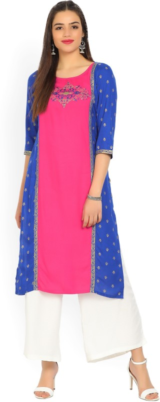 Aurelia Women's Embroidered Straight Kurta(Pink, Dark Blue)