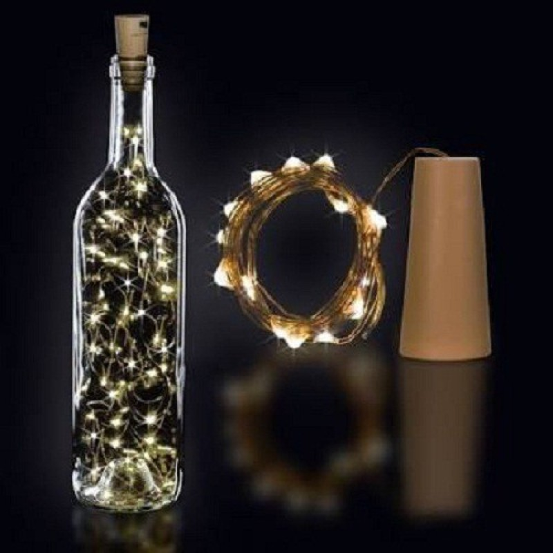 Copper String LED light 2 MTR 20 LED Bottle cork Operated Decorative Lights 78 inch Yellow Rice Lights(Pack of 1)