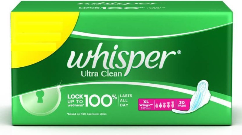 Whisper Ultra Clean XL Wings Sanitary Pad(Pack of 30)