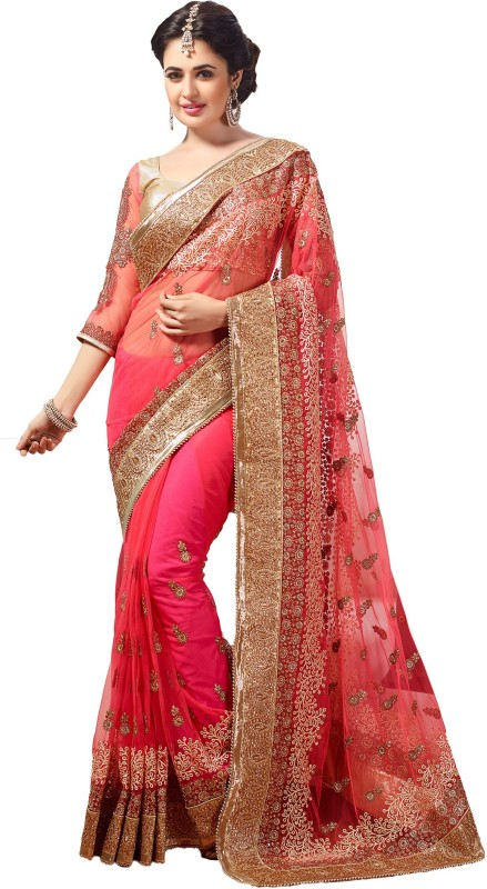 M.S.Retail Embroidered Bollywood Net Saree(Pink)