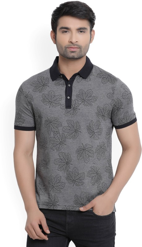 Blackberrys Floral Print Mens Polo Neck Black, Grey T-Shirt