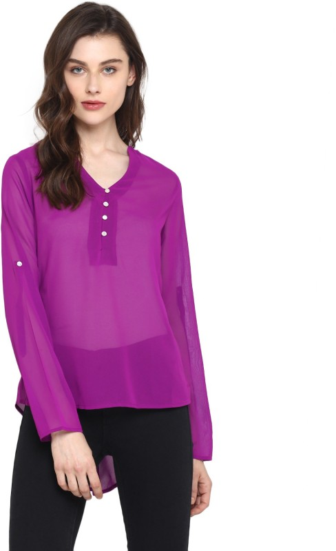 Miway Casual Full Sleeve Solid Women's Purple Top