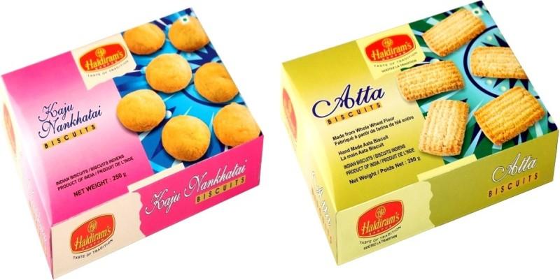 Haldiram's Kaju Nankhatai and Atta Biscuites (Combo Pack)(500 g, Pack of 2)
