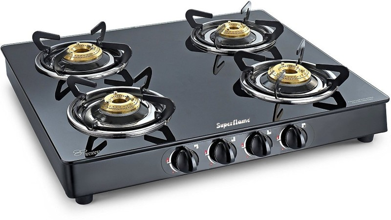 Superflame Gas Stove 4 Burner Solitare Glasstop (crystal) Steel Manual Gas Stove(4 Burners)
