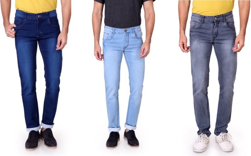 Ragzo Slim Men's Multicolor Jeans(Pack of 3)