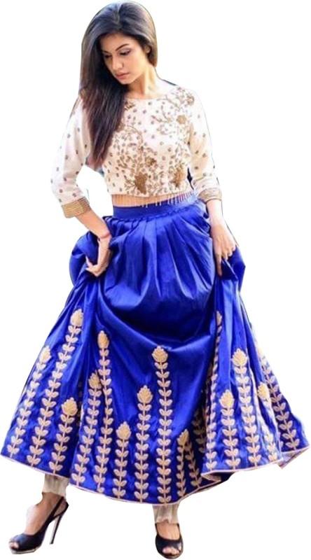 21st Fashion Embroidered Semi Stitched Lehenga Choli(Light Blue)