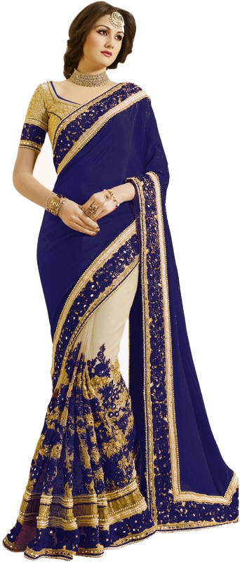 Pragati Fashion Hub Embroidered Fashion Satin, Net Saree(Blue, Beige)