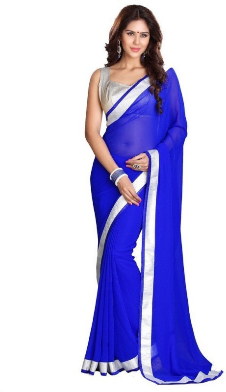 Bollywood Designer Solid Fashion Poly Georgette Saree(Blue)