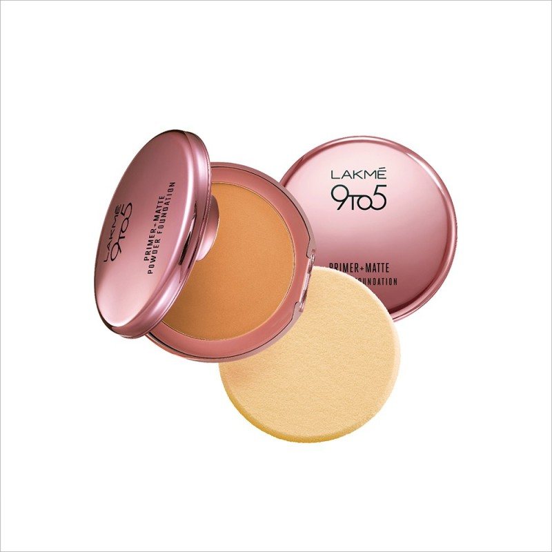 Lakme 9 to 5 Primer Plus Matte Powder Foundation Compact - 9 g(Honey Dew)