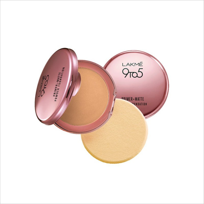 Lakme 9 to 5 Primer Plus Matte Powder Foundation Compact(Rose Silk)