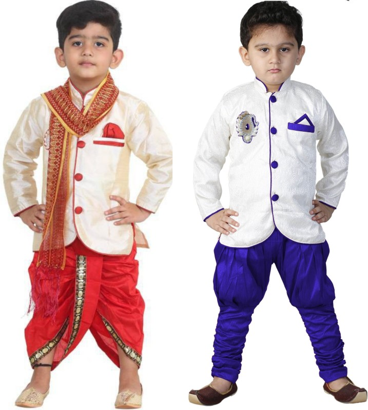 FTC FASHIONS Boys Festive & Party Dhoti & Kurta Set(Multicolor Pack of 2)