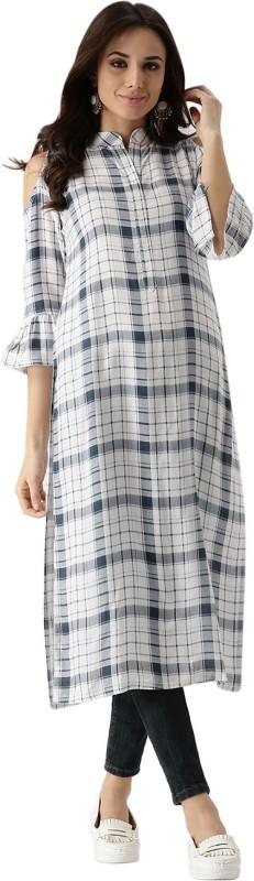 Libas Women's Checkered Straight Kurta(White)
