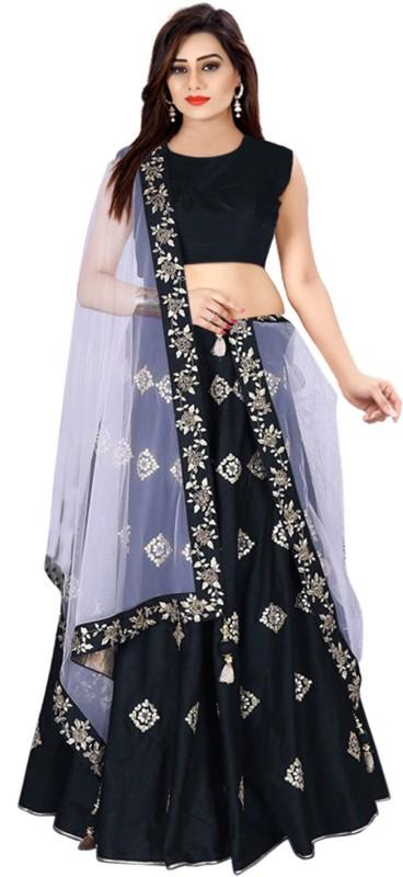 Fabcartz Embroidered, Embellished Lehenga, Choli and Dupatta Set(Black, Silver)