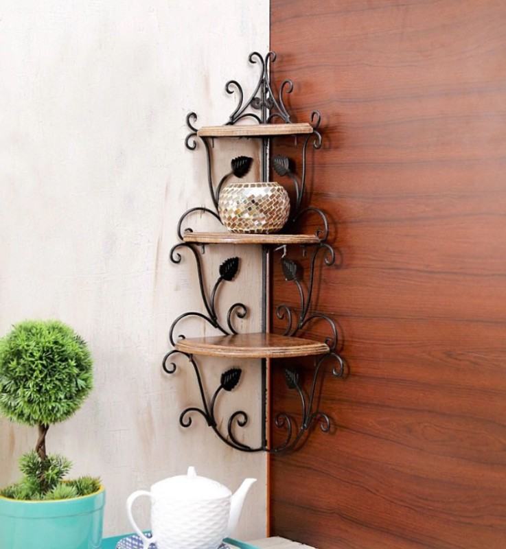 12 stars wall corner Wooden Wall Shelf(Number of Shelves - 3, Brown)