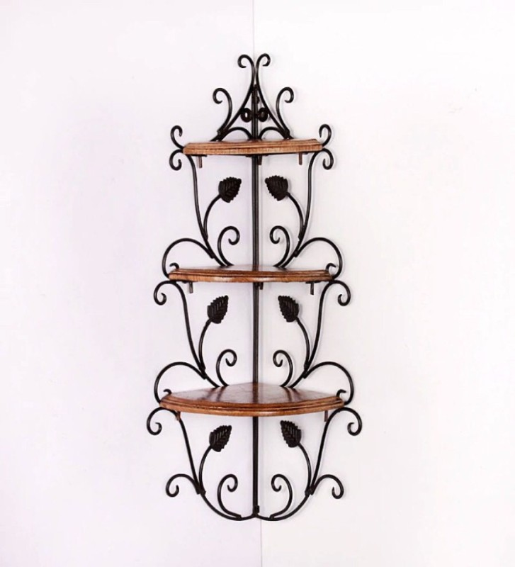 12 STARS WALL CORNER Wooden, Iron Wall Shelf(Number of Shelves - 3, Brown)