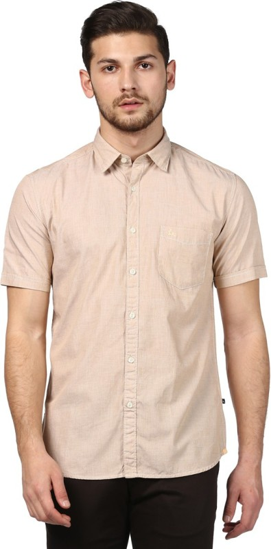 Parx Men Solid Casual Beige Shirt